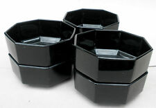 Arcoroc Soup Cereal Bowl x 4 Octime 5 5/8in Octagon Black Glass Retired France
