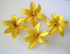 "3.5"" Yellow Lily 4 Piece Silk Flower Hair Clip Lot,Pin Up,Updo,Rockabilly,Hat"