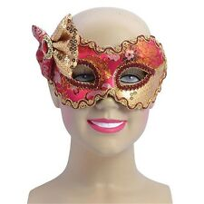 Red & Gold Eye Mask With Bow - Fancy Dress Masquerade Glasses Frame Accessory