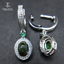 TBJ clasp earring with natural black opal and emerald gemstone jewelry 925 silve
