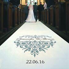 Personalised WEDDING AISLE RUNNER. Church Wedding Carpet Decoration.10 metre