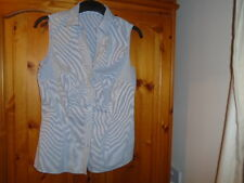 Grey and white sleeveless semi fitted shirt, TU, size 12, great for the office!