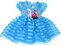 Girls Frozen Dress Anna Elsa Blue Sheer Summer Dress 3-7Y Hairband Sold Separate