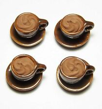 4 Dollhouse Miniature Cups of Coffee * Doll Mini Food Drink Chocolate Saucers