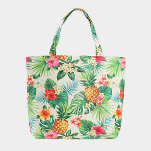 NEW Tropical Pineapples Palm Leaves Flower Print Purse Tote Travel Shopping Bag