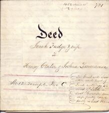 Vellum Deed 1852, Jonah & Sarah Fudge to Crater &  Zimmerman, East Coventry, PA