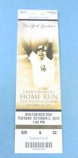 New York yankees vs Boston Red Sox  2012 Ticket w/Stub Tuesday 10/02/2012