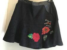 Desigual embroidered floral wool party skirt black/multi faux leather trim 42/8