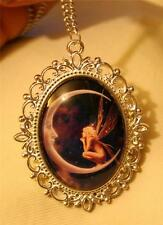 Lovely Picot Rimmed Silvertone Fairy Sitting on the Moon Violet Pendant Necklace