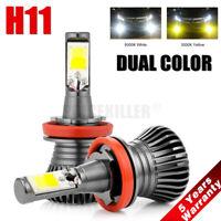 2x Dual Color H11 LED Fog Light Bulb 6000K White + Amber Yellow Driving DRL Lamp