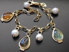TAGLIAMONTE Bracelet YGP/SS Belcher link VENETIAN CABOCHON + PEARL charms 19cm
