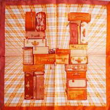 "HERMES H en Voyage SMALL 16"" SILK SCARF by Anamorphée Travel Suitcase Trunks"
