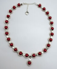 """Red glass """"pearls"""" & Hearts Adjustable Necklace"""