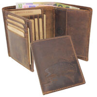 Vintage Leder Herren Geldbörse Portemonnaie Geldbeutel RFID Büffelleder Angler