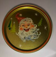 "Vintage MCM Christmas Kitsch Santa Starburst 10.75"" Round Metal Tray Gold READ"