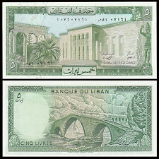 Lebanon 1986 year 5 livre BrandNew BankNotes