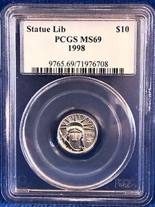 1998 Statue Of Liberty Platinum 1/10th Ounce $10 Coin PCGS MS69, Beautiful coin