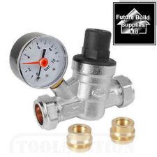 Water Pressure Reducing Valve With Gauge 15mm & 22mm Fitting Regulating PRV ADV