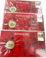 ".3 x 2009 COLOURED UNC $1 COIN PNC FDC. ""AUSTRALIA POST 200 YEARS""."
