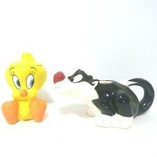 Looney Tunes Tea Set Tweety Bird Sugar Bowl an Sylvester Creamer Vintage 1997 WB