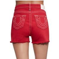 True Religion Women's High Waisted Cut Off Jean Shorts in Ruby Red
