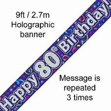 80TH BIRTHDAY PURPLE HOLOGRAPHIC HAPPY BIRTHDAY PARTY BANNER 2.7M (9FT) LONG