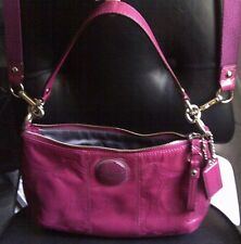 COACH SIGNATURE STITCHED PATENT LEATHER HOBO CROSSBODY BAG PURSE F15141 BERRY
