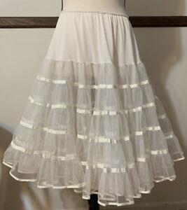 Veg Malco Modes CRINOLINE Petticoat Full Sweep Ivory Tiered Net Ribbon Medium