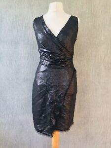 Donna Karan Silk Black Dress wrap UK 10 US 4  IT 40 Sequin Cocktail Party C6