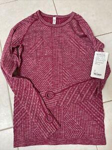 Lululemon Rest Less Pullover Longsleeve Shirt - Red Pink, Size 8, NEW!