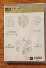 Stampin Up! SO VERY HAPPY Owl, Flower, Badge Retired