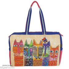 Laurel Burch LONG NECK CATS Multi Color Cat Luxury Weekender Travel Bag NEW 2016