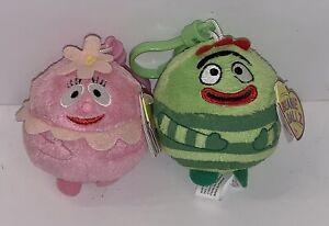 TY Beanie Baby Ballz - BROBEE FOOFA Yo Gabba Gabba Plastic Key Clip - 2.5 inch)