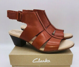 Clarks Collection Women's Valarie Dalia Heeled Sandals  - Rust Leather