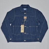 Vintage Wabash Jean Jacket Men Stripes Indigo Shirt Selvage Denim Short Outwear