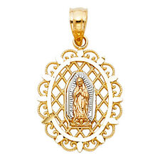 14K Yellow White Real Gold Virgin Mary Guadalupe Milgrain Small Pendant Charm
