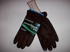 Isotoner Gloves Mens Smartouch Screen Comp 2.0 Plush Lined Large Brown Suede NWT