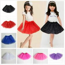 Girls Kid Sequin Stars Tutu Skirt Party Ballet Dance Wear Princess Dress Costume