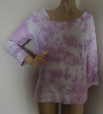 MOSSIMO XL PURPLE WHITE TIE DYE WIDE SCOOP OFF-SHOULDER NECK SHIRT COTTON band