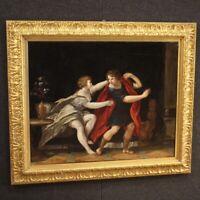 Antico dipinto mitologico quadro olio su tela con cornice 700 XVIII secolo