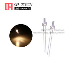 100pcs 2mm Led Diodes Water Clear Warm White Light Flat Top Transparent Usa
