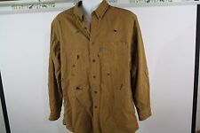 vtg WOOLRICH chamois flannel mens shirt LARGE brown faded distressed holes rips