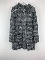 Womens Mia Moda Grey/white Mix Long Knit Cardigan Pockets Size L Uk *M
