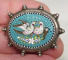 Micro Mosaic Dove Bird Brooch, Italy, Silver, Antique Italy
