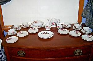 ANTIQUE MOSS ROSE CHILD'S TEA SET, COMPLETE, RED CRANE MARK JAPAN, ORIGINAL BOX