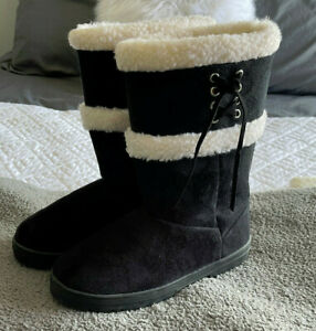 NWOT Black Suede Boots With Fleece Lining Women's 9 Winter Mid-Calf Pull-On
