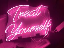 """Treat Yourself Lamp Poster Neon Sign Acrylic 22""""x14"""" Bedroom Bar With Dimmer"""