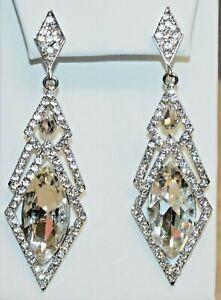 Clear White Rhinestone Faceted Glass Dangle Earrings Chandelier Diamond Shape