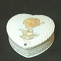Vintage Precious Moments March Birthstone Trinket Heart Box 1995 Preowned
