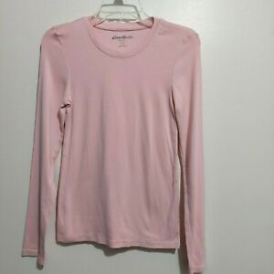 Eddie Bauer Womens Long Sleeve Crew Top Tee Size Small Pullover Pink